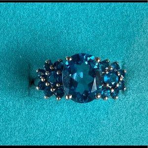 Swiss Blue Topaz & Apatite Ring